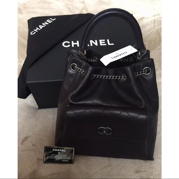 61d72c9e842 CHANEL Bags   Black Drawstring Backpack W Chain Straps   Poshmark
